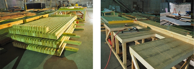 "Figure 1. (left) Nail-laminated roof and floor decks are custom-manufactured at the storage warehouse. Decks are sized based on the span. The most typical size of a single deck is 6'x10'-6"".  Figure 2. (right) Workstation where the nail-laminated decks are being assembled. Inset shows the movie set source of the material."